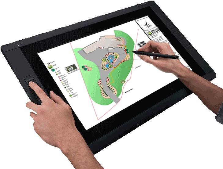 Landscape tablet drawing