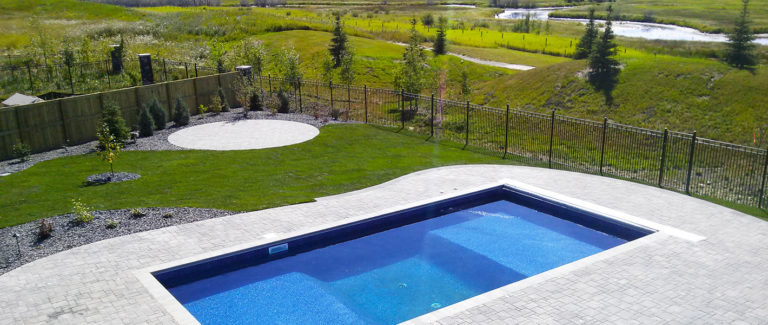 Pool patio with lower fire pit