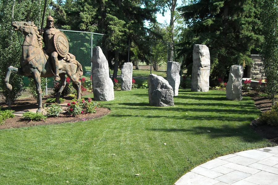 Statue and Stone Pillers