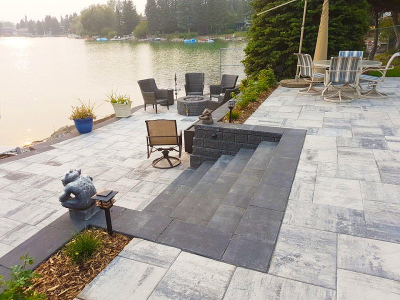 Paver patio next to lake
