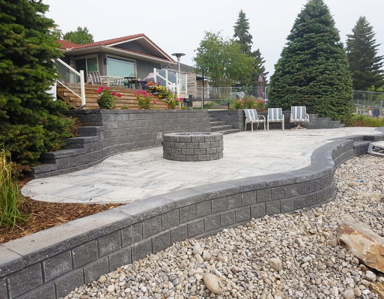 Retaining Wall and Fire Pit